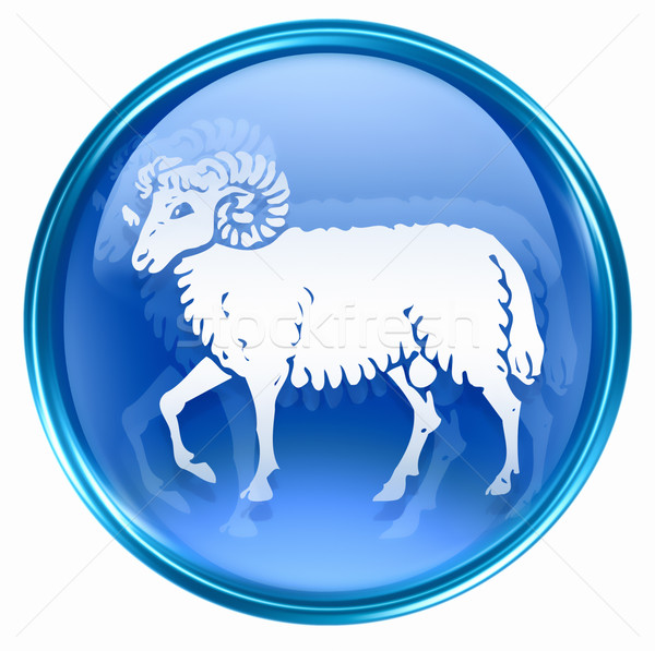 Aries zodiac button icon, isolated on white background. Stock photo © zeffss