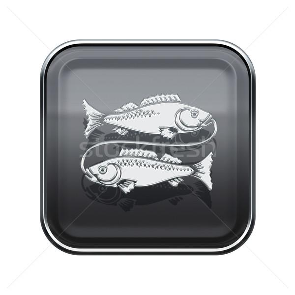 Pisces zodiac icon grey, isolated on white background Stock photo © zeffss
