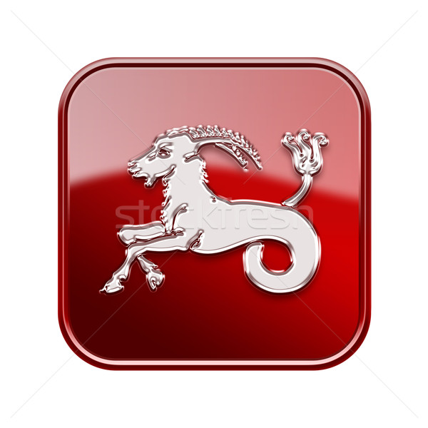 Capricorn zodiac icon red, isolated on white background Stock photo © zeffss