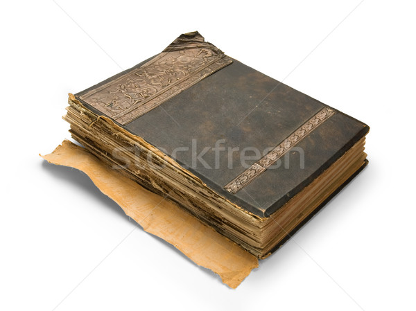 Stock photo: old book with an engraving, isolated on white background