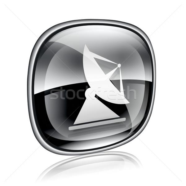 Antena ícone preto vidro isolado branco Foto stock © zeffss