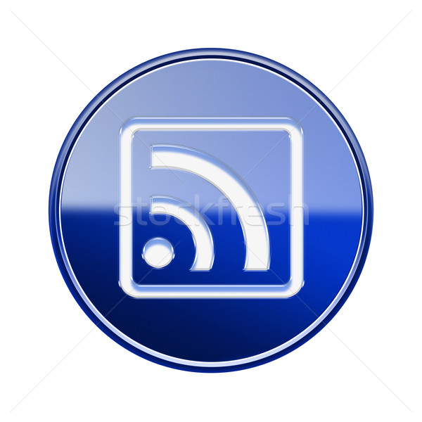 WI-FI icon glossy blue, isolated on white background Stock photo © zeffss