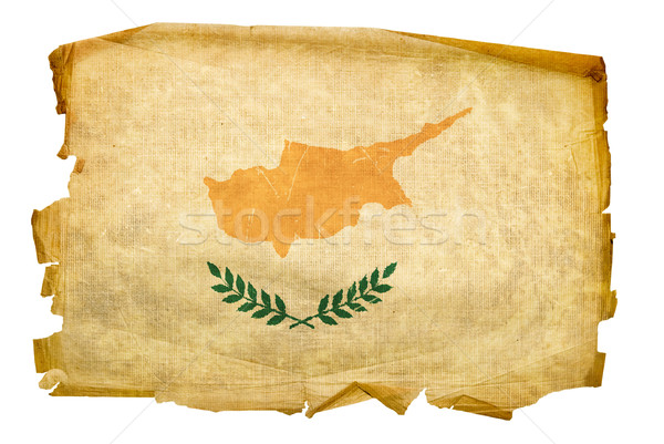 Cyprus vlag oude geïsoleerd witte schilderij Stockfoto © zeffss