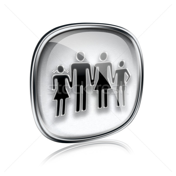 family icon grey glass, isolated on white background. Stock photo © zeffss