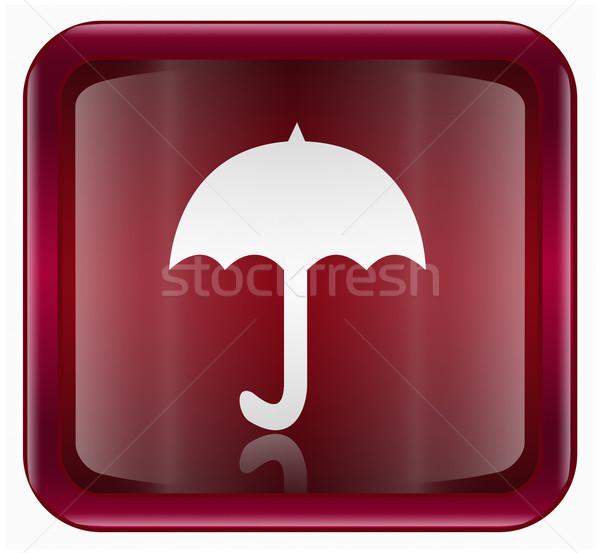 Paraplu icon donkere Rood geïsoleerd witte Stockfoto © zeffss