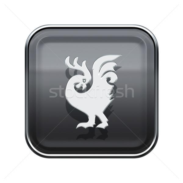 Stock photo: Cock Zodiac icon grey, isolated on white background.