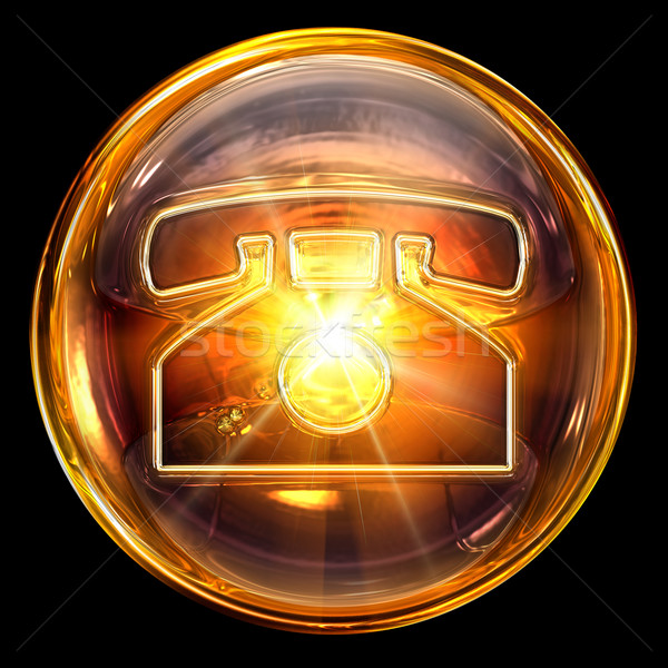Stock photo: phone icon fire, isolated on black background.