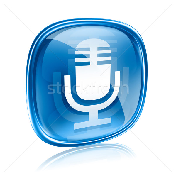 Microphone icon blue, isolated on white background Stock photo © zeffss