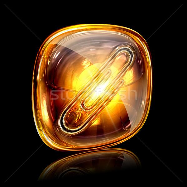 Gemkapocs ikon borostyánkő izolált fekete fény Stock fotó © zeffss