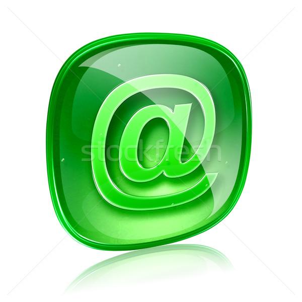 E-mail icon groene glas geïsoleerd witte Stockfoto © zeffss