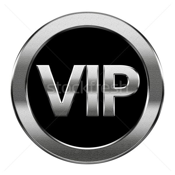 Stock photo: VIP icon silver, isolated on white background.