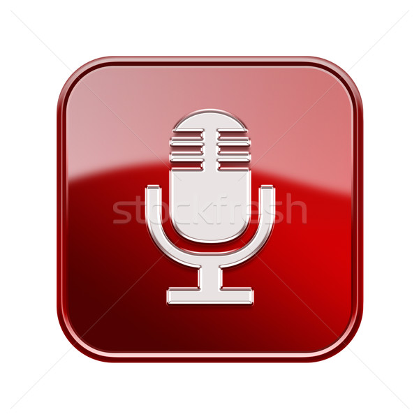 Microphone icon glossy red, isolated on white background Stock photo © zeffss
