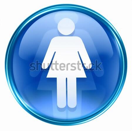 Foto stock: Mulher · ícone · escuro · azul · isolado · mulher · negra