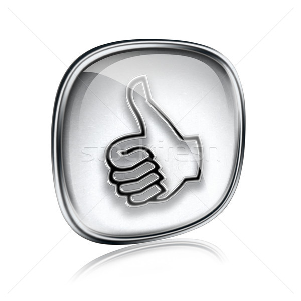 thumb up icon grey glass, approval Hand Gesture, isolated on whi Stock photo © zeffss