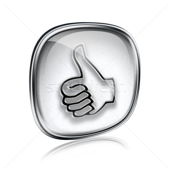 Pollice up icona grigio vetro approvazione Foto d'archivio © zeffss
