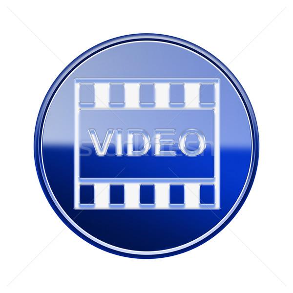 Foto stock: Filme · ícone · azul · isolado · branco