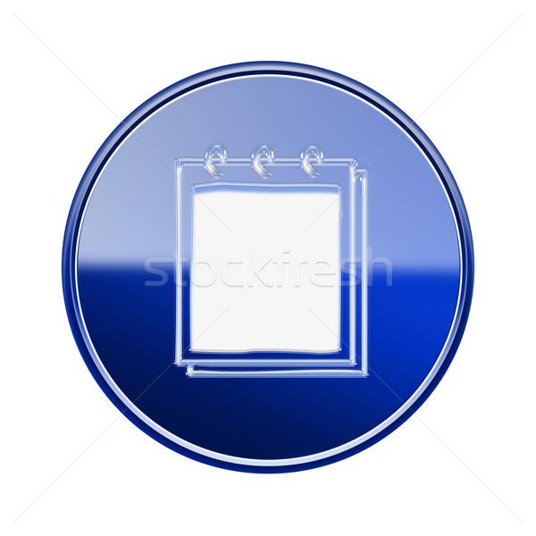 Foto stock: Caderno · ícone · azul · isolado · branco