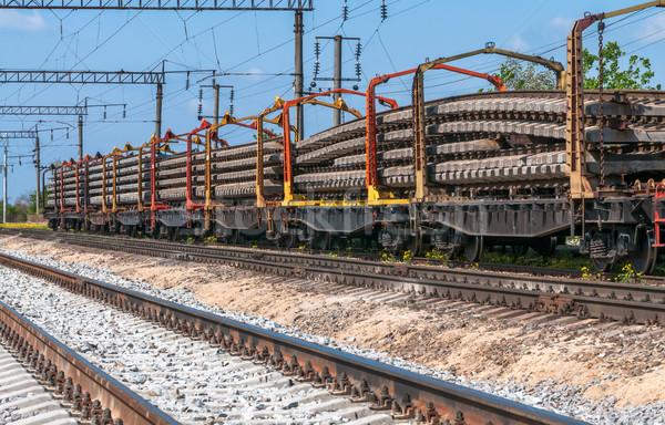 Vonat különleges útvonal felszerlés fém kő Stock fotó © zeffss