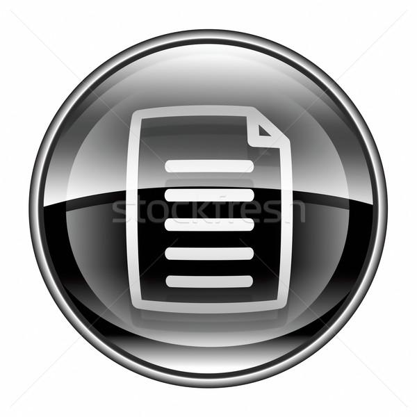 Document icon zwarte geïsoleerd witte papier Stockfoto © zeffss