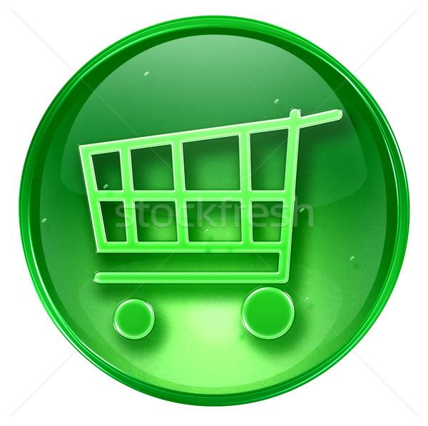 Bevásárlókocsi ikon zöld izolált fehér felirat Stock fotó © zeffss