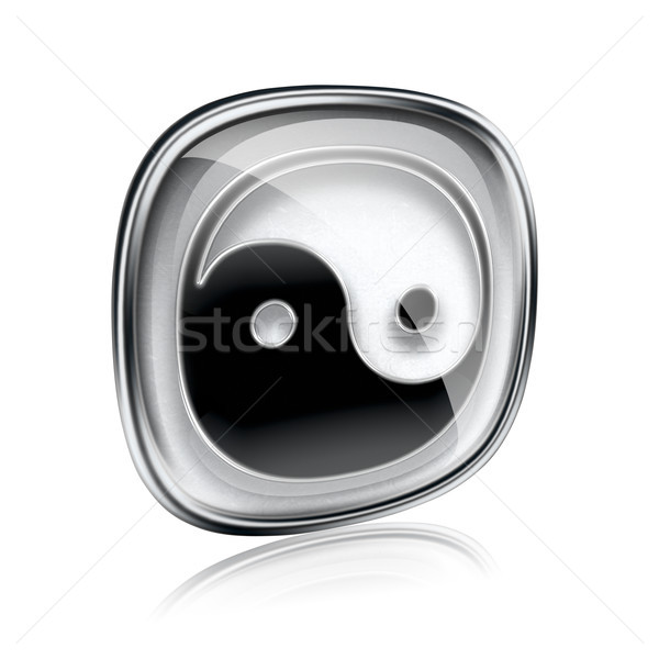 Stock photo: yin yang symbol icon grey glass, isolated on white background.
