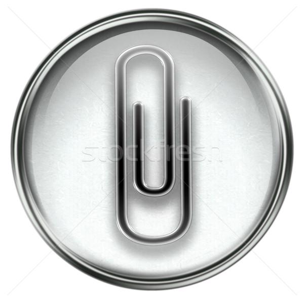 Paper clip icon grey Stock photo © zeffss