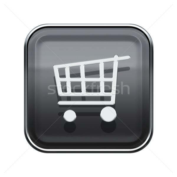 shopping cart icon glossy grey, isolated on white background Stock photo © zeffss
