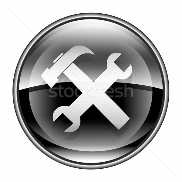Szerszámok ikon fekete izolált fehér üveg Stock fotó © zeffss