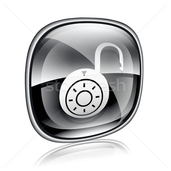 Lock on, icon black glass, isolated on white background. Stock photo © zeffss