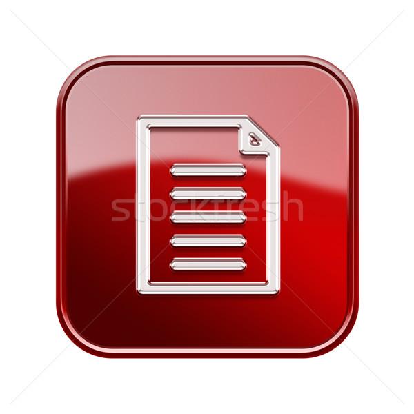 документа икона красный изолированный белый Сток-фото © zeffss