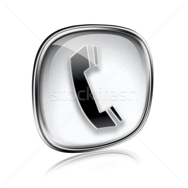 電話 アイコン グレー ガラス 孤立した 白 ストックフォト © zeffss
