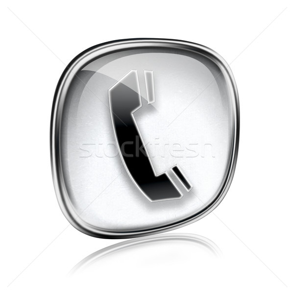 Telefon ikon gri cam yalıtılmış beyaz Stok fotoğraf © zeffss