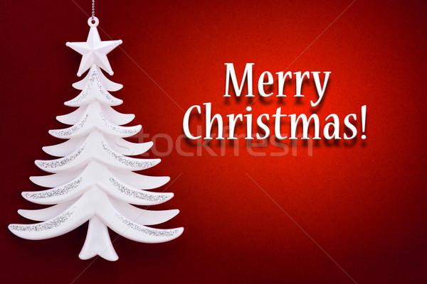Kerstboom Rood fluwelen papier natuur licht Stockfoto © zeffss