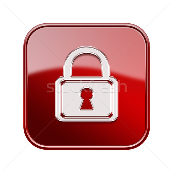 Lock icon glossy red, isolated on white background Stock photo © zeffss