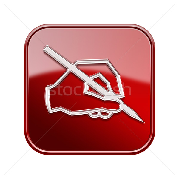 E-mail ícone vermelho isolado branco Foto stock © zeffss