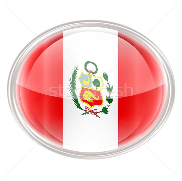 Peru banderą ikona odizolowany biały Internetu Zdjęcia stock © zeffss