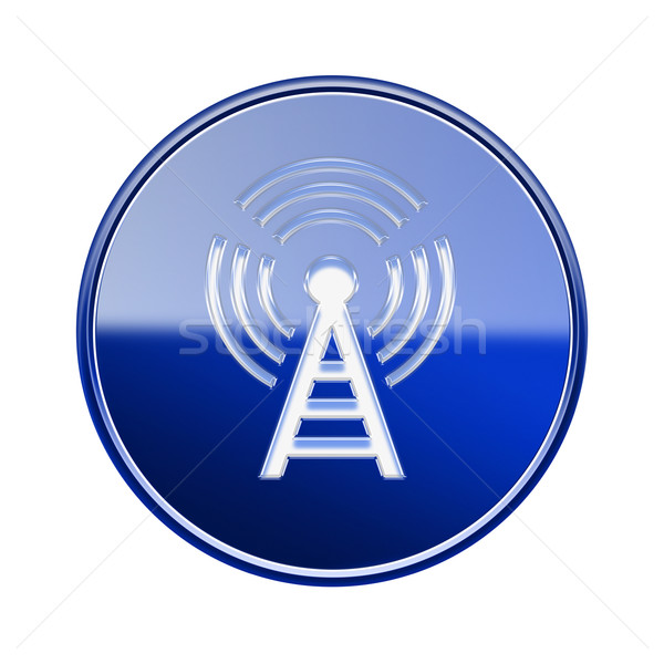 WI-FI tower icon glossy blue, isolated on white background Stock photo © zeffss