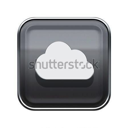 Chmura icon szary odizolowany biały Internetu Zdjęcia stock © zeffss
