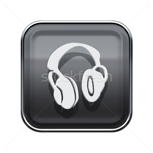 Stock photo: headphones icon glossy grey, isolated on white background.
