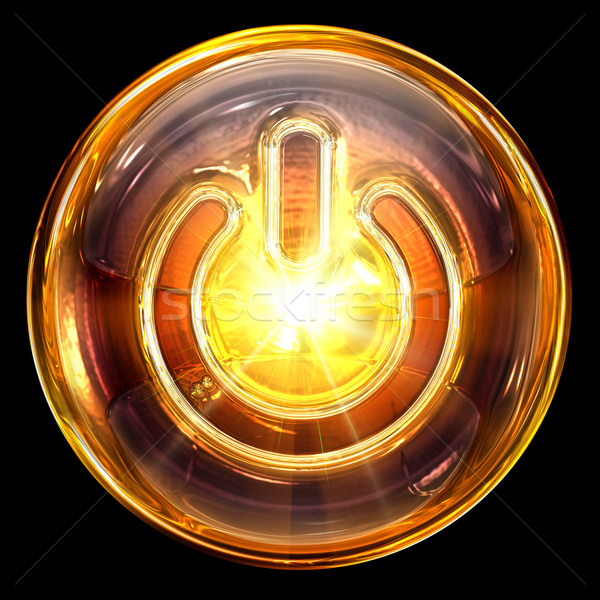 Stock photo: Power icon fire, isolated on black background