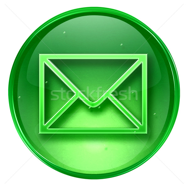 конверт икона зеленый изолированный белый бумаги Сток-фото © zeffss