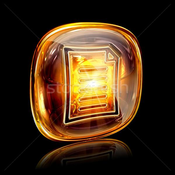 Document icon amber, isolated on black background Stock photo © zeffss