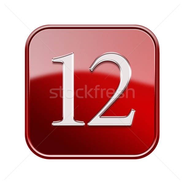 Twelve icon red glossy, isolated on white background Stock photo © zeffss
