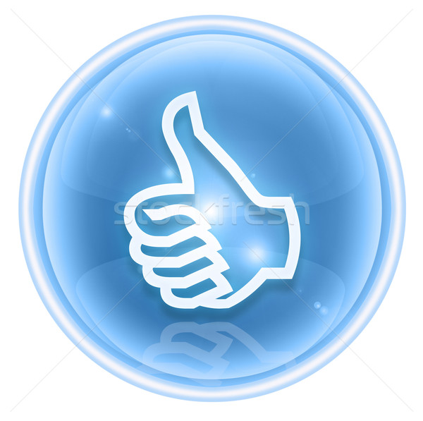 thumb up icon ice, approval Hand Gesture, isolated on white back Stock photo © zeffss