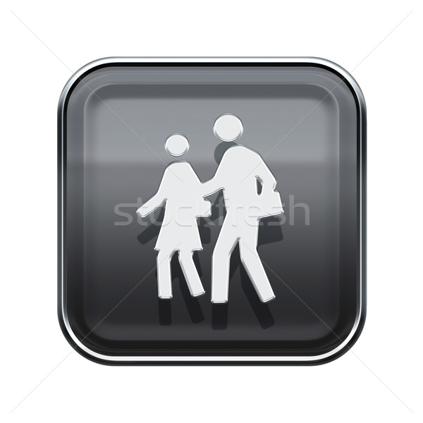 People icon glossy grey, isolated on white background Stock photo © zeffss