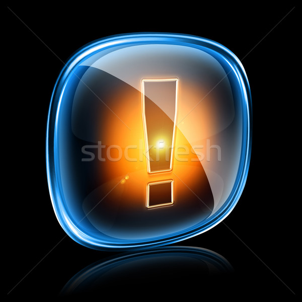 Exclamation symbol icon neon, isolated on black background Stock photo © zeffss