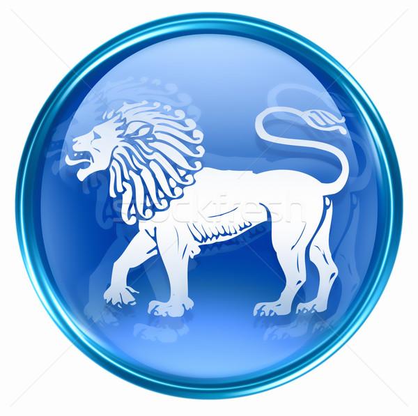 Leeuw dierenriem knop icon geïsoleerd witte Stockfoto © zeffss