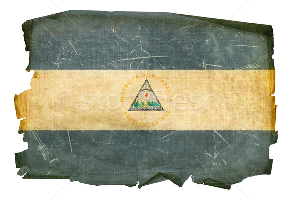 Nicaragua zászló öreg izolált fehér festmény Stock fotó © zeffss