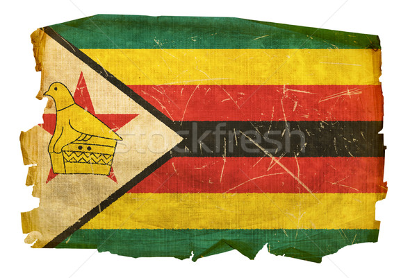 Zimbabwe Flag old, isolated on white background. Stock photo © zeffss
