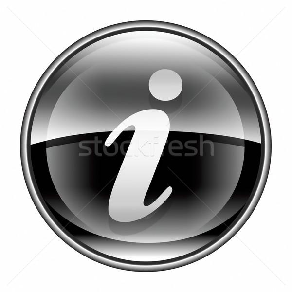 Informatie icon zwarte geïsoleerd witte internet Stockfoto © zeffss